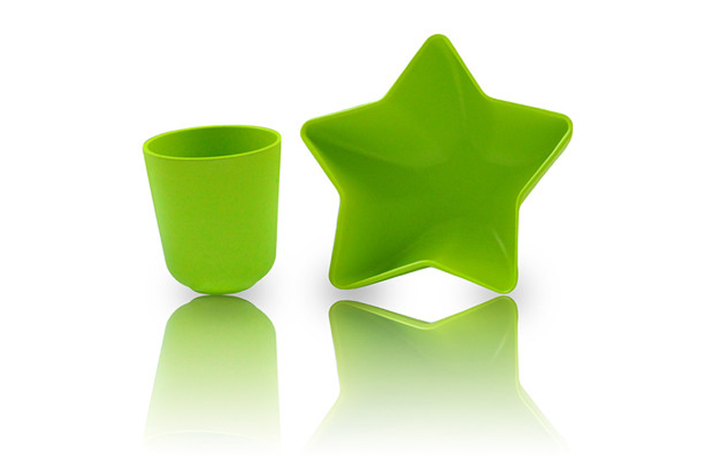 Pacific Baby Natural Feeding Bowl & Cup Green