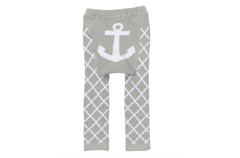 Doodle Pants Gray Quatrefoil Anchor Leggings