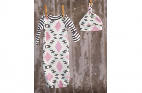 Fawn & Clover Baby Gown + Knot Hat Set - Lilac Diamonds