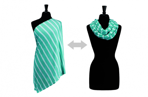Itzy Ritzy Nursing Happens Infinity Breastfeeding Scarf - Turquoise Stripe