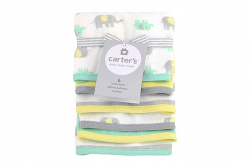 Carter's 6 Piece Yellow and Grey Washcloth Set - Elephant Print