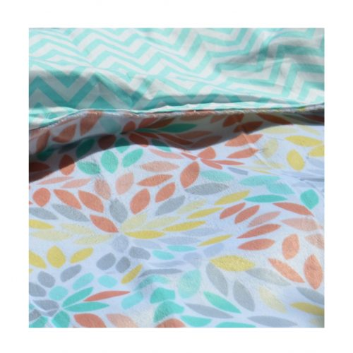 LatchPal Little Zip Pocket Blanket- Aqua Chevron Floral